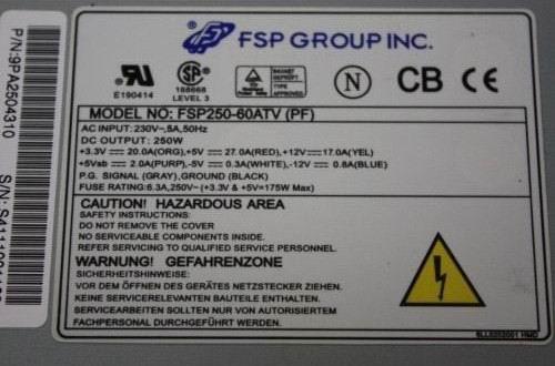 Etiquette Bloc alimentation FSP250-60ATV(PF)